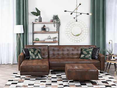 Right Hand Corner Sofa Distressed Air Leather Brown Aberdeen