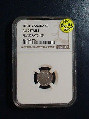 1881H Canada Five Cents NGC AU BETTER DATE SILVER 5C Coin BUY IT NOW!