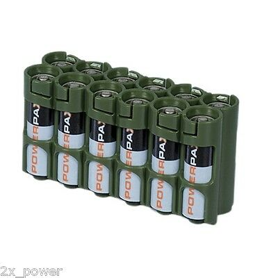 Storacell Powerpax AA Military Green 12 Pack Battery Caddy Holds 12 AA Batteries