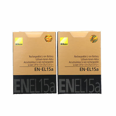 2 x Genuine New EN-EL15A Battery For D850 D7500 D750 D810 D7200 D7000 D7100