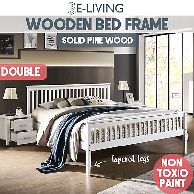 Timber Bed Frame in Double Size Wooden Slatted Solid Pine Wood Bedroom Classic