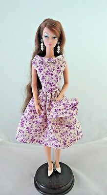 12 Inch Doll Clothes Handmade 4 Silkstone Barbie Purple and Cream Dress Set