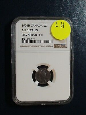 1903H Canada Five Cents NGC AU LARGE H BETTER DATE SILVER 5C Coin BUY IT NOW!