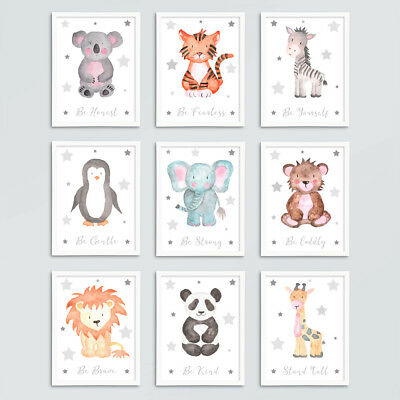 Safari Woodland Animal Baby Nursery Prints Set Grey Star Childrens Bedroom Decor