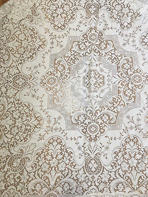New VINTAGE  LACE Cloth Tablecloth Square White Off 48' x 48'