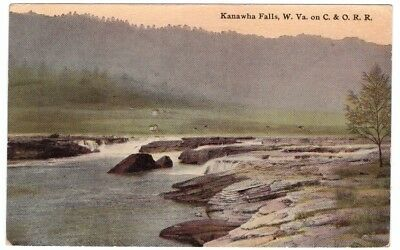 Kanawha Falls C&O RR Railroad Gauley Bridge WV West Virginia Postcard Vintage U
