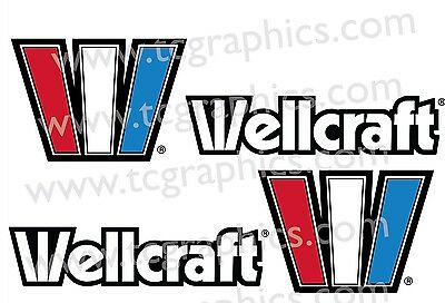 "Wellcraft W boat decals stickers L 2-1 & 1 R 16"" x 4.5"" Reflective"