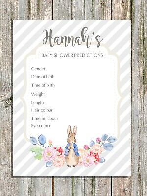 Baby Shower Prediction Cards Grey Stripe Peter Rabbit New Mum To Be