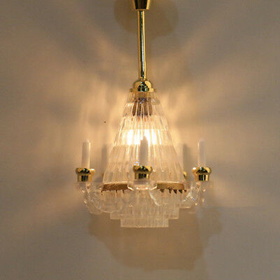 1:12 Dollhouse Miniature Chandelier Ceiling Lighting Lamp Retro Home Decor