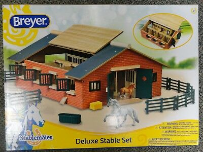Breyer 7 Horse Stall Hand Painted Brick Deluxe Stable Set #59209 - Brand New