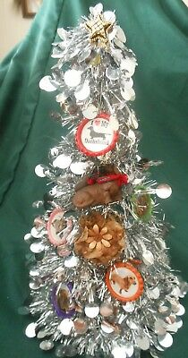 """HAND-DECORATED 10"""" SILVER TINSEL CHRISTMAS TREE w/ DACHSHUND DOG BREED ORNAMENTS"""