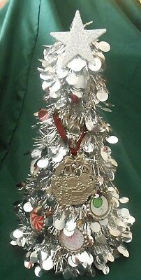 "HAND-DECORATED 10"" SILVER TINSEL TREE w/ LONGABERGER POPCORN BASKET ORNAMENT"