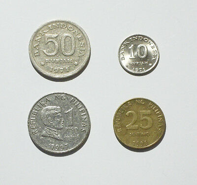 Philippines 1 Piso Coin 1997 and 25 Sentimo 1996; Indonesia 50 & 10 Rupiah 1971