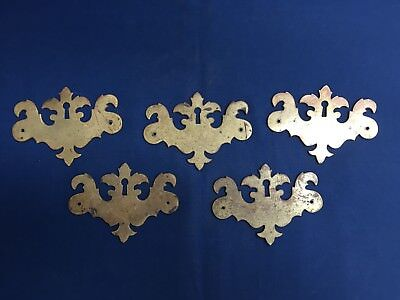 5 Antique Vintage Solid Brass Chippendale Escutcheons Key Hole Chest Drawer NOS