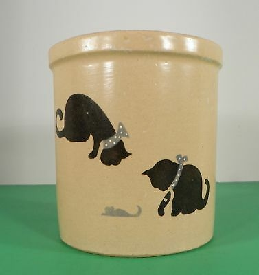 Robinson Ransbottom Pottery CAT AND MOUSE CROCK Roseville Ohio RRP 32-ounce