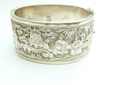 Chinese Export Rare Antique Solid Silver Hinged Cuff Bangle Wang Hing Bracelet