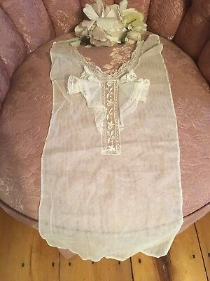 Antique 1920s French Tambour Lace Collar Off White Cotton Netting At9