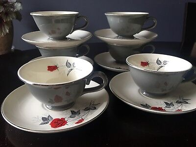 Taylor Smith Taylor Moulin Rouge Cup And Saucer(6) Red Roses Gray Leaves Tst