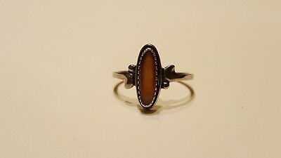 Antique Vintage Mid Century 925 Sterling Silver Oval Cut Honey Amber Ring/Size 6