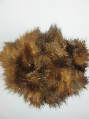 "VINTAGE RETRO BROWN FAUX FUR HAND MUFF FULLY LINED WIDTH 9"" LENGTH 8"" m35"