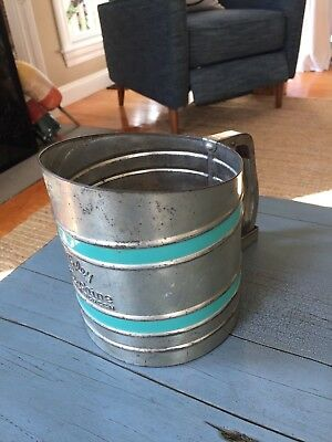Foley Sift Chine Triple Screen Flour Sifter With Turquoise Bands Vintage Antique