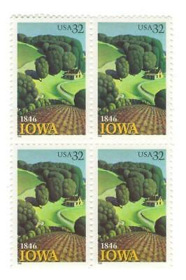 Iowa's Fertile Grassland 21 Yr Old Mint Vintage US Postage Stamp Block from 1996