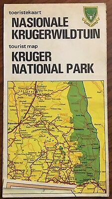 Vintage 1970 Kruger National Park Map South Africa