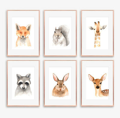 Woodland Animal Wall Art Prints Baby Nursery or Childrens Room Pictures Decor A4