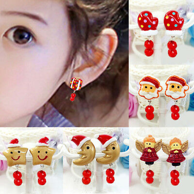 Lovely Girl Kids Lady Christmas Earrings Clip on No Ear Piercing Party SuppliesS