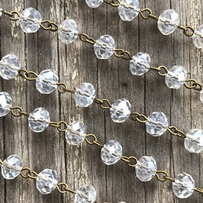 Crystal Satin Crystal Rondelle Beaded Rosary Antique Brass Eyepin Chain 8mm 2ft