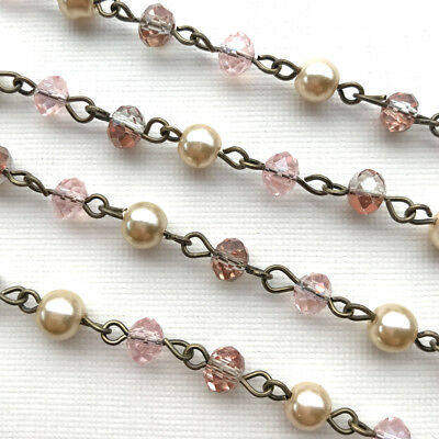 Pink Crystal Rondell Beaded Rosary Antique Brass Eyepin Chain 6mm 2 feet