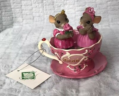 "Charming Tails Teacups Of Hope Blossoms Of Courage New W/ Tag Damage 4"" Figurine"