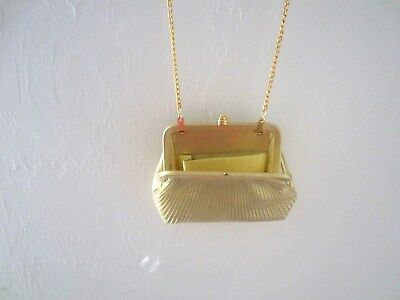 NEW - Small Gold Metallic Shoulder Evening Bag  With Chain/ Clutch