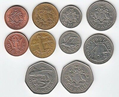 Barbados Set of 5 Coins - 1 Cent to 1 Dollar/Various Dates