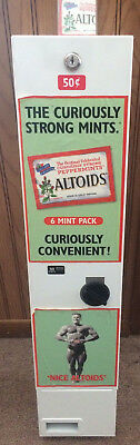 Vintage Altoids Mints Candy Vending Machine 50c coin operated No key Man Cave