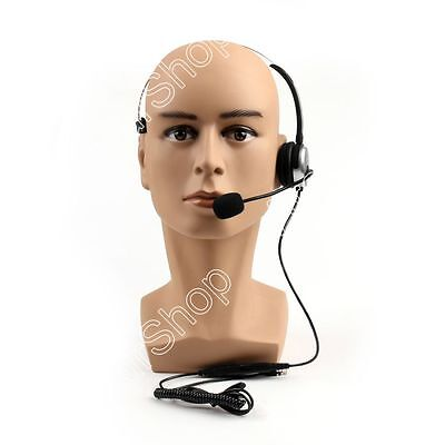 5Pcs Adjustable Volume 4 Wired RJ9 Call Corded Telephone Headset Monaural Silver