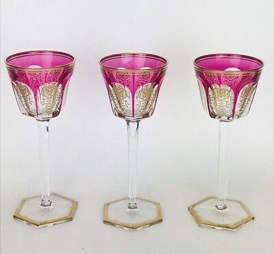Rare Set of 11 Baccarat Empire Cranberry Rhine Glasses