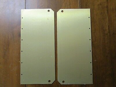 Pair Of Commercial Door Push Plates - Brushed Brass Finish - New Old Stock