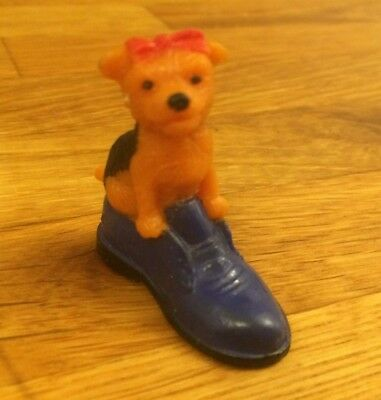 Puppy In My Pocket Brown & Black Dog Figure Sitting Inside Blue Shoe