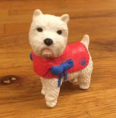 Puppy In My Pocket White West Highland Terrier Dog Figure in Red & Blue Outfit