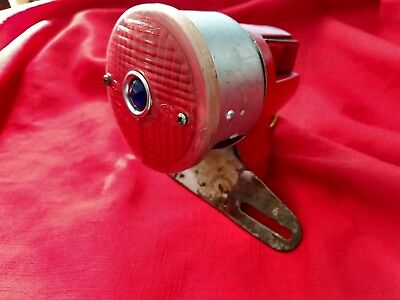 Vintage Scooter Tail Light Assembly with Blue Dot Lens and License Plate Bracket