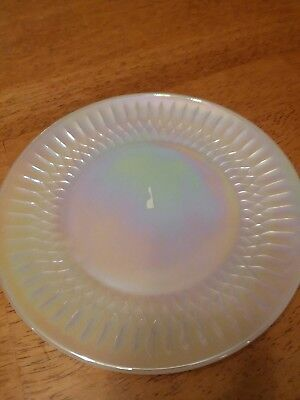 "Federal White Glass   Moonglow  7 1/2"" Plate"