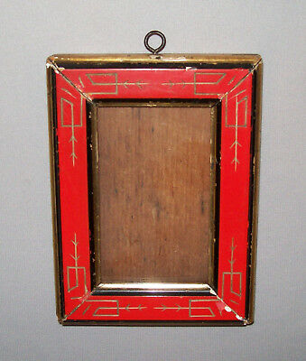 Antique Vtg 19th C 1850s Small Aesthetic Movement Picture Frame Red Black Gold
