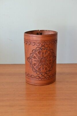 Vintage tooled leather wine / alcohol bottle cover cask  OT11