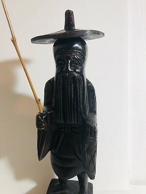 Wooden Fisherman Statue Chinese Carved Wood Figure Tribal Asian    557