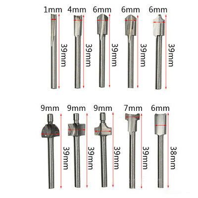 10pcs Wood Cutter Foredom Rotary Tool Shank Dremel Rotary Titanium Router Bits