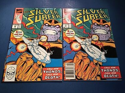 Silver Surfer #34 x 2! (1 Direct & 1 Newsstand - 1st Thanos in Silver Surfer)