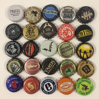 Beer Bottle Caps Lot of 25 All Different Brewery Craft Micro Random Selection