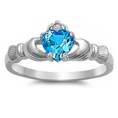 Blue Topaz & Cubic Zirconia accent Claddagh .925 Sterling Silver Ring Sizes 3-12