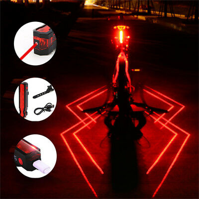 USB Rechargeable LED Bicycle Bike Cycling Front Rear Tail Light 2 Modes Lamp Set